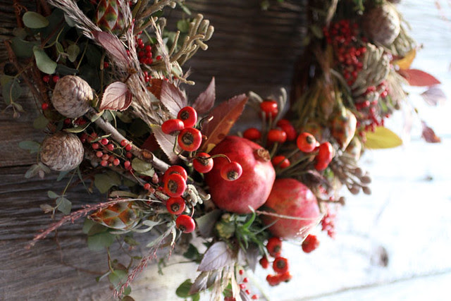 pomegranite and rose hip wreath