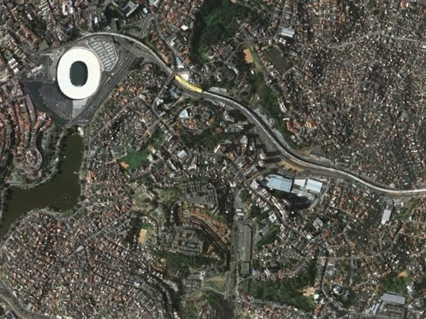 Arena Fonte Nova, em Salvador, em foto feita em 19 de setembro de 2013 (Foto: Google Earth)