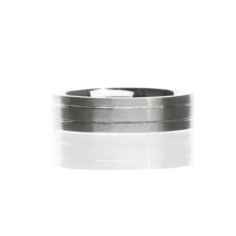 Mens Grooved Wedding Band 14 Karat White Gold