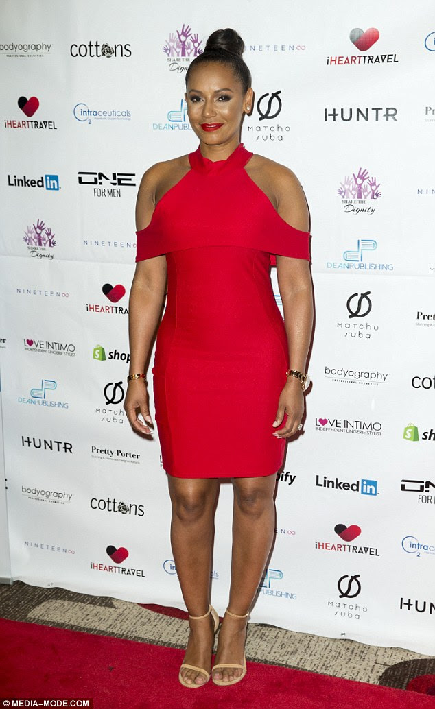 Red hot! Mel B, real name Melanie Brown, wowed in a figure hugging frock at aCasino Royale Gala Dinner supporting the charity Share The Dignity in Melbourne on Saturday