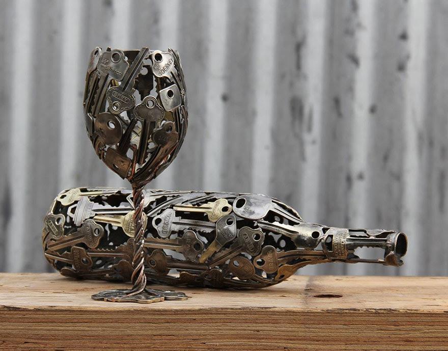 recycled-metal-sculptures-key-coin-michael-moerkey-1