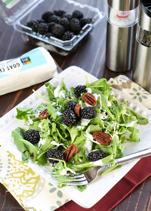 Arugula Salad with Blackberries & Creamy Goat Cheese Dressing   from Garnish with Lemon