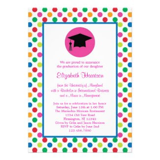 Polka Dots and Cap Graduation Invitation