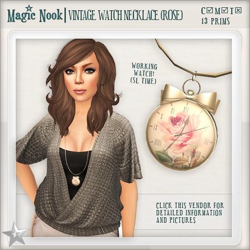 [MAGIC NOOK] Vintage Watch Necklace (Rose)