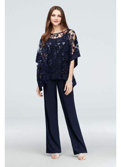 sequin lace pantsuit  sheer poncho davids bridal