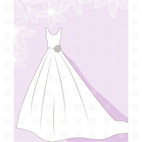 Wedding dress on floral background Vector Image of Beauty