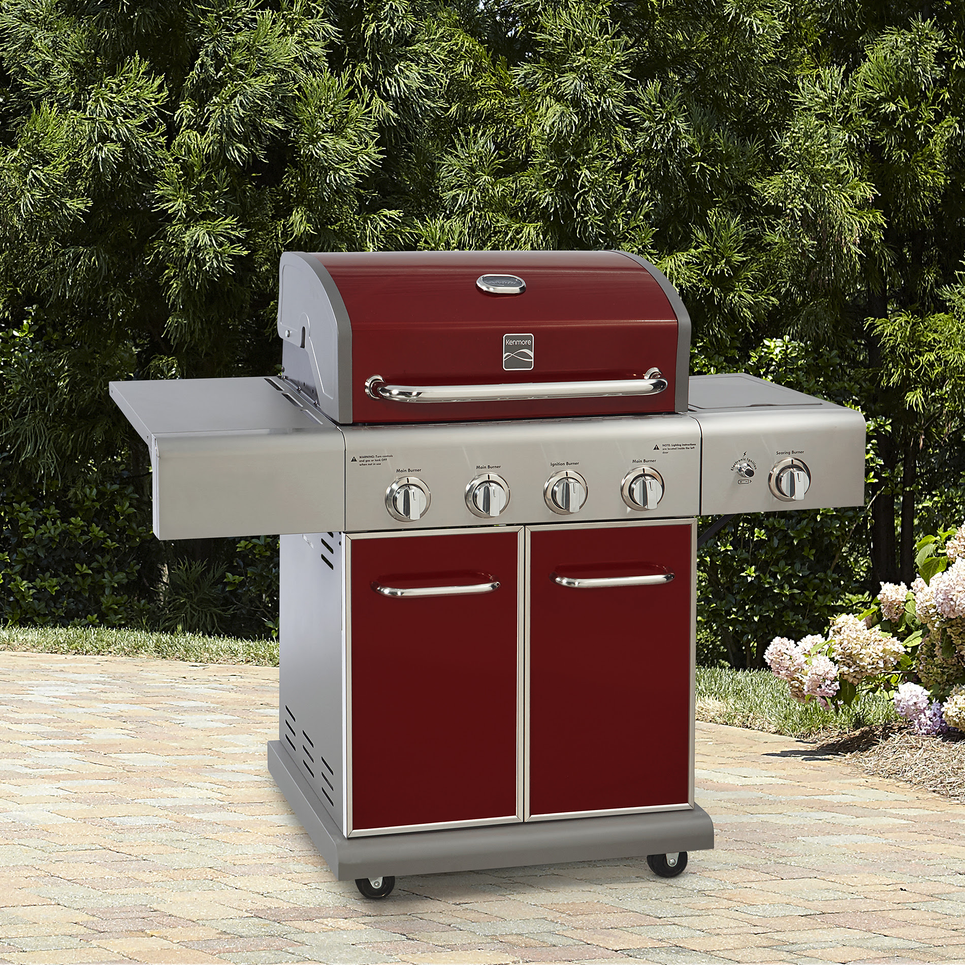 Kenmore 4 Burner LP Gas Grill with Side Burner Red