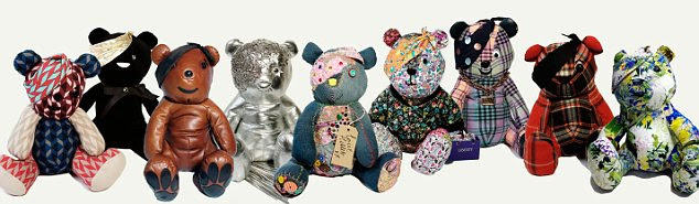 Fashion conscious: Pudsey bears designed by, from left Jonathan Saunders, PPQ, Mulberry, Giles Deacon, Kate Hillier, Liberty, Henry Holland, Patrick Grant and Erdem