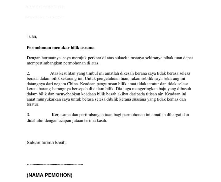 surat rasmi permohonan tukar bilik surat rasmi c