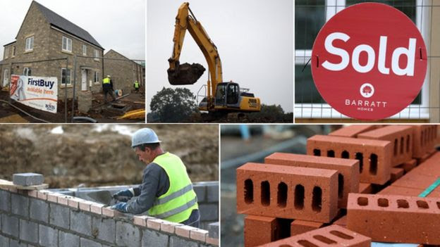 "Images of housebuilding (clockwise from top left): house under construction; digger; ""sold"" sign; bricks; bricklayer"