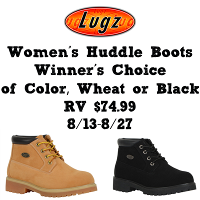 Enter the Lugz Huddle Womens Boots Giveaway. Ends 8/27