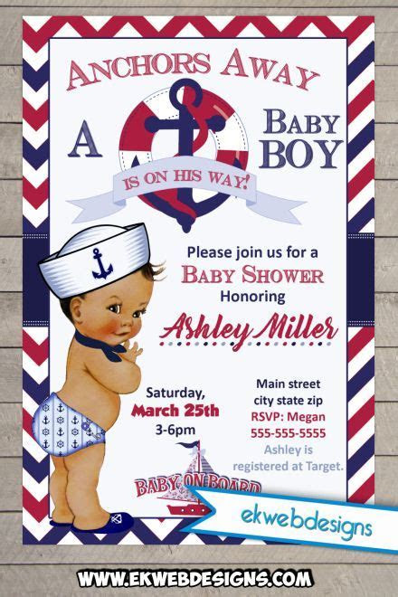 Little Sailor Boy Baby Shower Invitation   Custom Digital