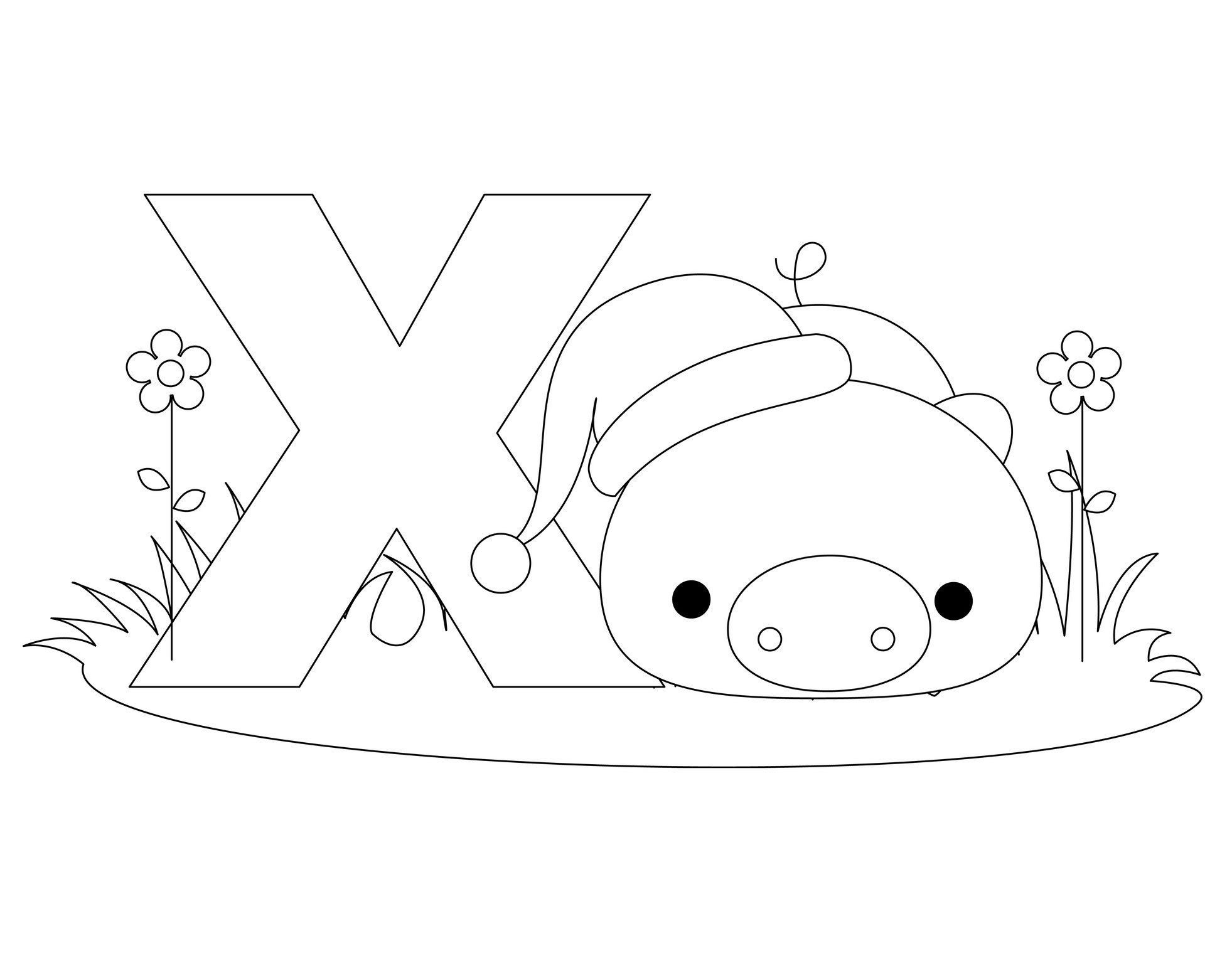 alphabet coloring pages Letter X