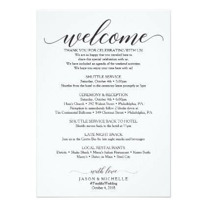 Classic Script Wedding Itinerary   Wedding Welcome Program