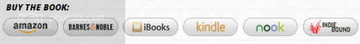 Screenshot of buttons leading to various book-buying options: Amazon, Barnes and Noble, iBooks, Kindle, Nook, and Indie Bound