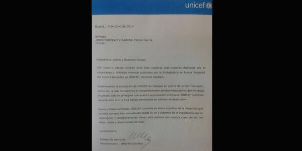 La Unicef también pidió disculpas por la imagen publicada por Nicolette van Dam.