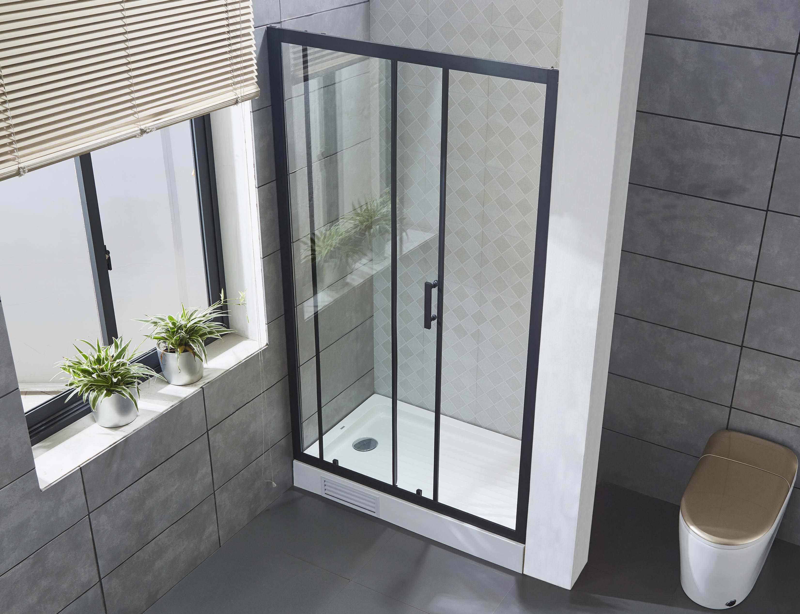 mattschwarz 6mm ausgeglichene glasduschtür dusche mit