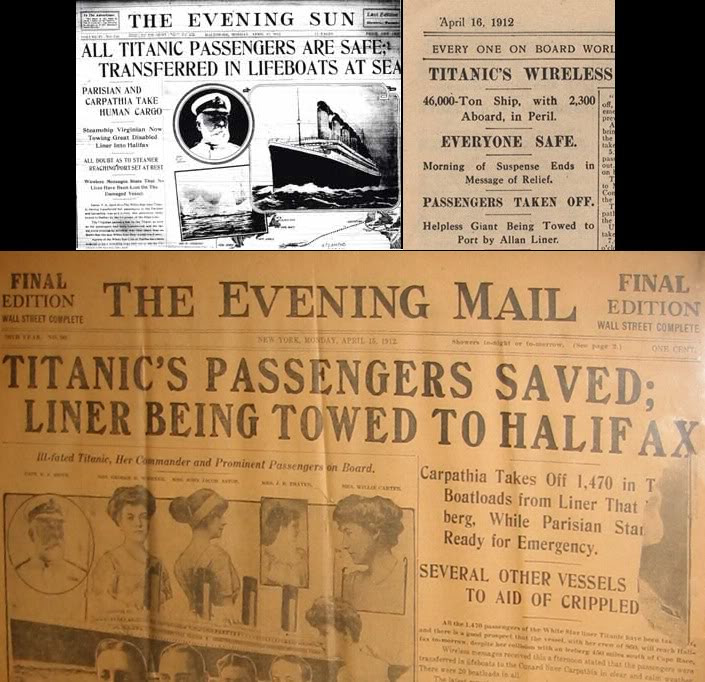 Titanic Passengers Saved headlines