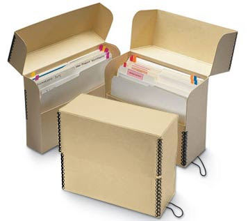 Tan TrueCore FlipTop Document Box, Letter Style