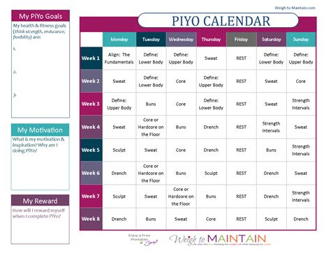 printable piyo calendar  workout schedule working