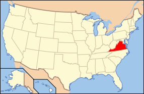 Map of USA with Virginia highlighted