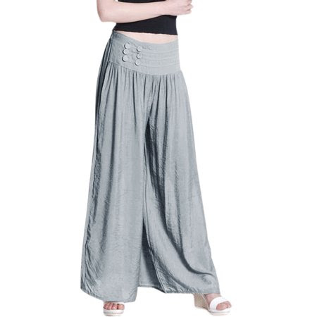 Women's Elastic Waist Back Mid Rise Palazzo Pants Gray (Size M \/ 8)