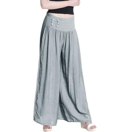 Women's Elastic Waist Back Mid Rise Palazzo Pants Gray (Size M \/ 8)