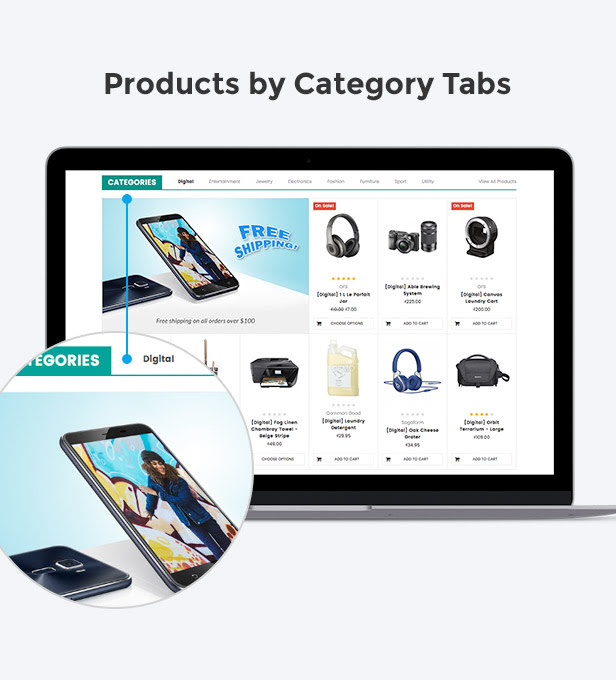 Display products by category with sub-category tabs filter