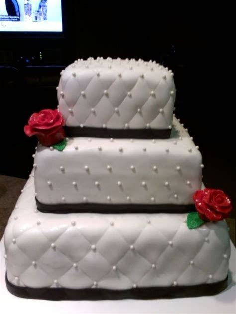 3 TIER, WHITE SQUARE WEDDING CAKE WITH BLACK FONDANT TRIM