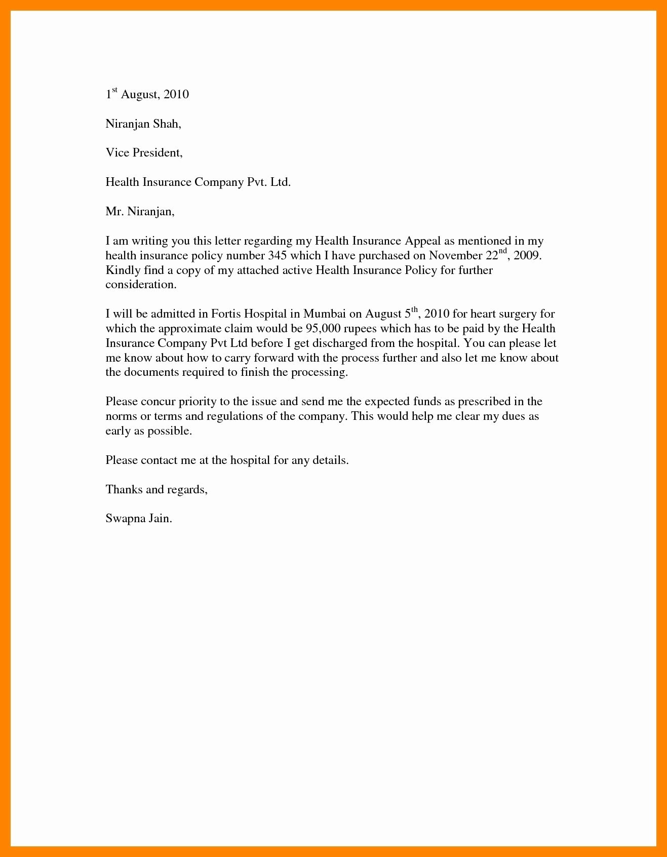 Letter Insurance Template | | Mt Home Arts