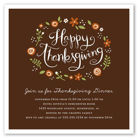 Floral Wreath 5x5 Thanksgiving Invitations   Shutterfly