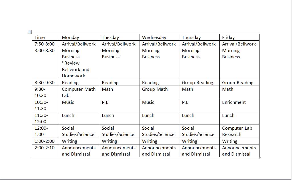 Third Grade Daily Schedule | Daily Agenda Calendar
