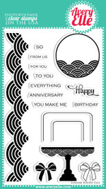 "We love the versatility of our 4"" x 6"" Fanfare clear photopolymer stamp set.  It includes a tag, border, cake image and so many HAPPY sentiment combinations. From modern to formal designs, this set will deliver."