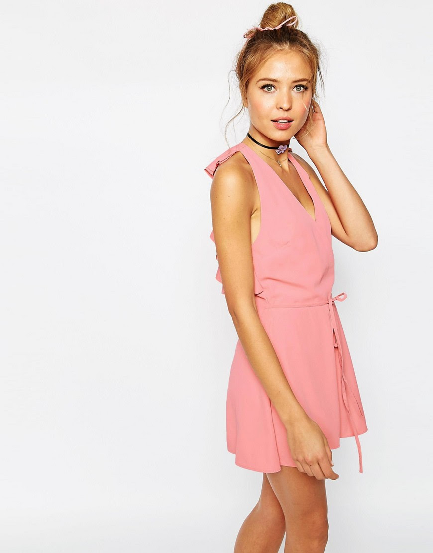 Image 1 of ASOS Ruffle Back Tie Romper with Raw Edge