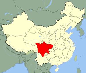 An SVG map of China with Sichuan province high...