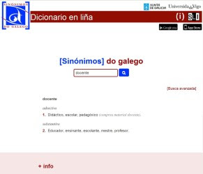 Portal do diccionario de sinónimos en galego.