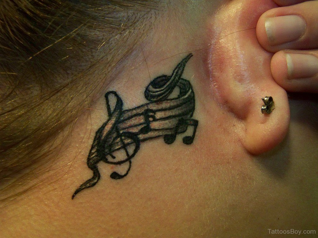 Music Notes Tattoo On Behind Ear Tattoo Designs Tattoo Pictures