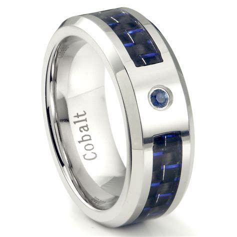 Cobalt Chrome 8MM Blue Sapphire & Blue Carbon Fiber Inlay