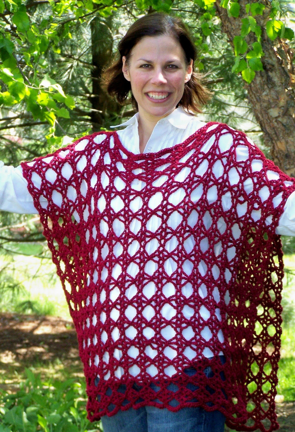 Red Merino Blend Wool Accent Poncho