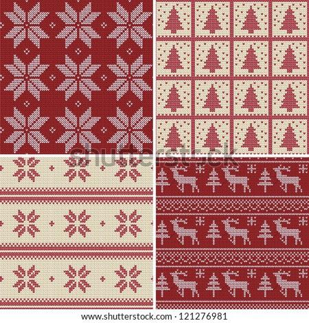 Set Of Traditional Christmas Knitted Scandinavian Seamless ...