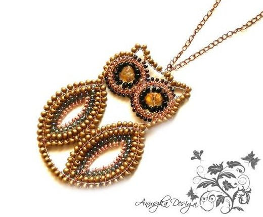 Wire wrapped beaded owl #pendant #necklace