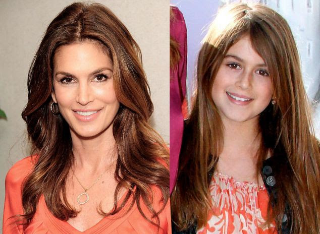 Modelled on mum: Cindy Crawford and Kaia have the same long brown locks