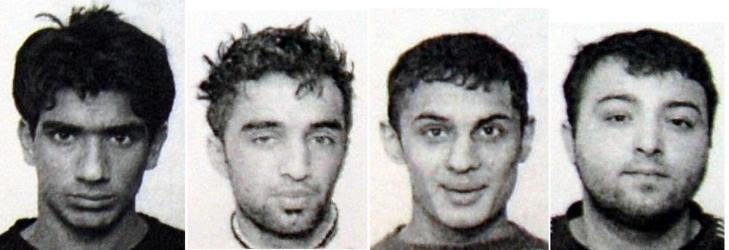 DRAPSTILTALT: (F.v.) Aamer Asghar (29), Mohammad Adris Shafi (31), Asim Sharif (28) og Adil Boujedain (29) er tiltalt for forsettlig drap eller medvirkning etter at 52 år gamle Mohammad Arshad ble slått i hjel på Manglerud i fjor. Alle nekter straffskyld for drap men de tre sistnevente har erkjent å ha medvirket til voldsbruk. Foto: POLITIET
