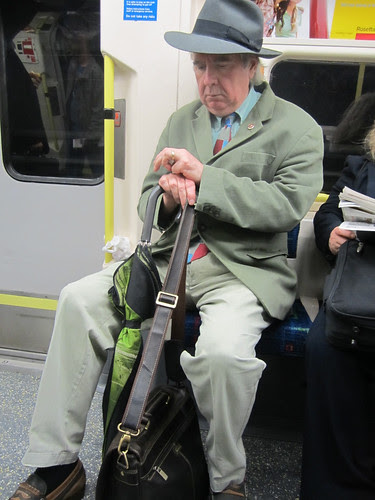 John Betjeman lookalike on Northern Line
