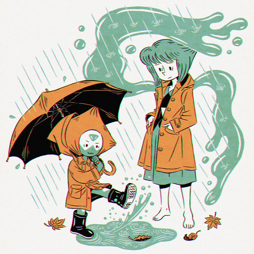 雨が楽しいペリドットと何が楽しいんだかと思いながらも見守るラピスラズリ。