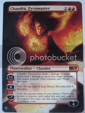 Chandra Pyromaster altered art planeswalker M14 altered alteration magic cards sexy Chandra alter