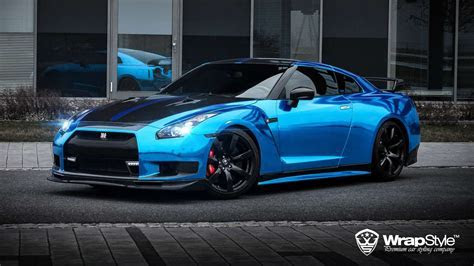 Nissan gtr Wrap Vinyl chrome blue wallpaper   1920x1080