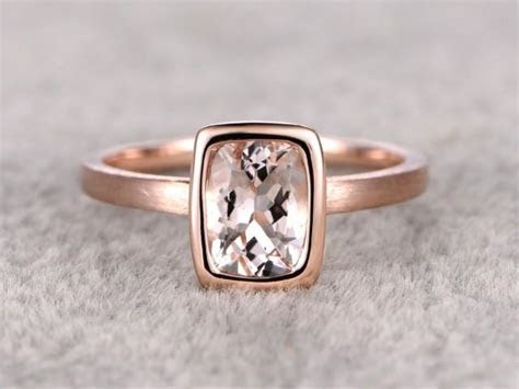 6x8mm Morganite Solitaire Engagement Ring Rose Gold,Plain