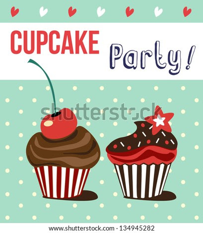 card with cup cakes,vector illustration - stock vector