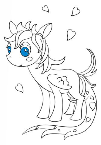 Disegno Di Pegaso Pony Kawaii Da Colorare Disegni Da Colorare E